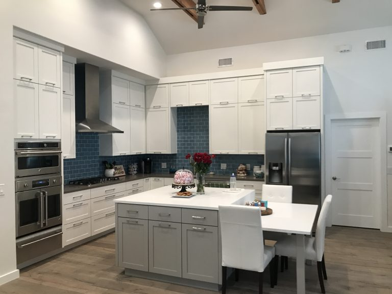 custom built white kitchen cabinets