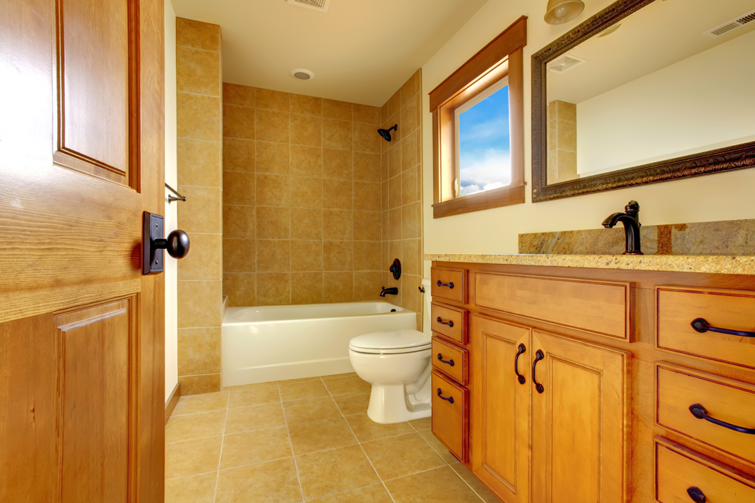 custom wood cabinets in bathroom